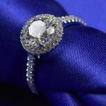 Buy cheap White Gold Forever One Moissanite Engagement Rings 9.25 Hardness RD0165 from wholesalers