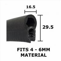 Buy cheap LARGE BLACK RUBBER BOOT SEAL TRIM 29.5mm X 16.5mm - FITS 4mm to 6mm Thick from wholesalers