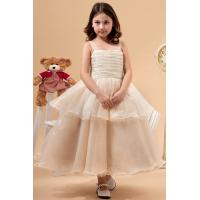 Buy cheap Square A Line Organza Champagne Unique Flower Girl Dresses Birthday Party Dress With Bow from wholesalers