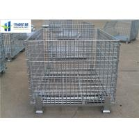 Buy cheap Euro Warehouse Wire Mesh Container Wire Folding Bulk Containers With Wooden Pallet from wholesalers