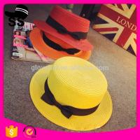 China 2017 New Style Natural Grass Wholesale 65g D30cm Fashion Lady's Colorful Boater Paper  with buttlefly Summer Straw Hats on sale