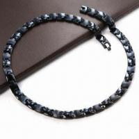 Buy cheap Stainless Steel Necklace, Men's Healthy Link Magnetic, Black Gold, Rose Gold Color, 4-in-1 product