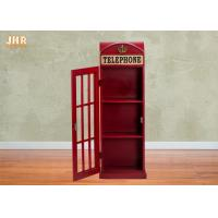 Buy cheap British Telephone Booth Storage Cabinet Antique Wood Storage Rack MDF Floor Rack Red Color from wholesalers