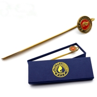 Buy cheap custom blue yellow bookmark gift box with foil stamping  lid and base bookmark rigid box from wholesalers