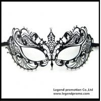 Buy cheap Hot Sell Wholesale Luxury Sex Appeal Black Metal Laser Cut Masquerade Mask With Rhinestone from wholesalers