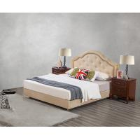 Buy cheap Leather / Fabric Upholstered Headboard Bed for Hotel Bedroom interior Furniture with Wooden nighstand in Cheap price from wholesalers
