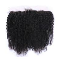 Buy cheap Elegant-wig Unprocessed Virgin human Hair Hand Tied Afro Curly Lace Frontal With Baby Hair from wholesalers