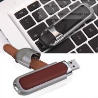 Buy cheap Leather metal USB memory stick customized logo hot stamp press usb pendrive gift from wholesalers