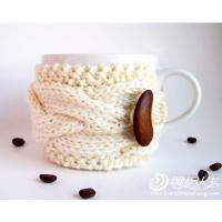 Buy cheap coffee mug Crochet Cup Cozy with bean bottons , Knitted Wraparound Cable Design from wholesalers