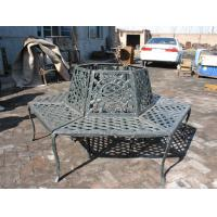 Buy cheap Black Wrought Iron Round Metal Tree Seat Cast Iron Patio Bench Painting Finishing from wholesalers