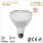 Buy cheap hot sale osram ra80 par30 led lighting e27 led spotlight 45w 3000lumen ac100-265v from wholesalers