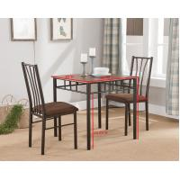 Buy cheap 3 Piece Metal & Wood 30 Square Kitchen Dinette Dining Table & 2 Side Chairs Set from wholesalers
