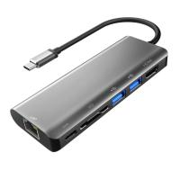 Buy cheap Aluminum Type C Adapter with HDMI Port Gigabit Ethernet Port USBC Power Delivery 2 USB 3.0 Ports SD Card Reader for mac from wholesalers