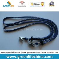 Buy cheap Custom Logo printing blue round shape cord lanyard with black ball lock and metal clip from wholesalers