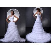 Buy cheap White V Neck Beaded Flowers Organza Wedding Dresses with Court Train from wholesalers