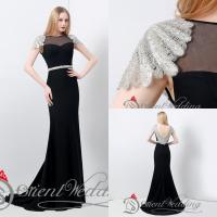 Buy cheap Sexy Hollow Cap Sleeve Womens Long Black Evening Dresses from wholesalers
