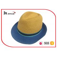 Buy cheap Colorful Straw Trilby Wide Brimmed Straw Hat With Selfband And Square Pu Label For Mens from wholesalers