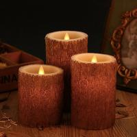Buy cheap Set Of 3 Bark Simulation Pillar Flameless Led Candles With 10 Key Remote And Cycling 24 Hours Timer product