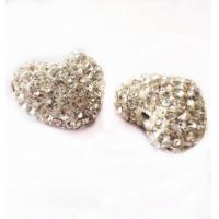 Buy cheap 12-16mm White Color Clay Heart Shaped Beads,Clay Shamballa Beads with two hole from wholesalers