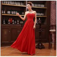 Buy cheap Red Sexy Strapless Beading Long Lace Chiffon Women Formal Evening Dress 2014 Vestido De Madrinha 100912 Free Shipping from wholesalers