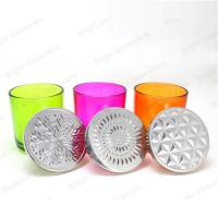 Buy cheap custom colorful glass candle holder with metal lid from wholesalers