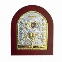 Buy cheap Metal/Aluminum Orthodox Icon with Silver Plating Surface Finish and Supportive Back Leg to Stand from wholesalers