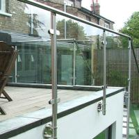 Buy cheap Side mounted stainless steel handrail tempered glass stair railing design from wholesalers