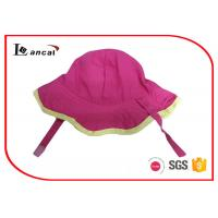 Buy cheap Simple style floral bucket hat hot pink cotton with yellow bound edge from wholesalers