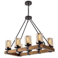 Buy cheap Rustic Wooden Farmhouse Chandeliers E27 Vintage Kitchen Glass Pendant Lighting from wholesalers