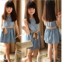 Buy cheap 2014 new  girls Jean dress princess sleeveless dress for Children Dress wholesale 4pcs/lot from wholesalers
