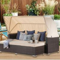 Buy cheap lounge design outdoor garden wicker sofa set matching loveseat with retractable canopy and club chair daybed sofa from wholesalers