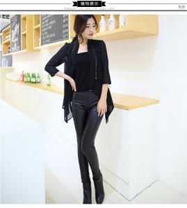 women's plus velvet warm splicing pu leather pencil pants trousers for lady