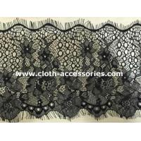 Buy cheap 10  Knitted Flower Beaded Eyelash Lace Trim Black With Drop - Shaped from wholesalers