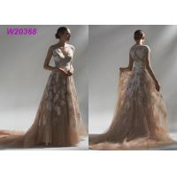 Buy cheap Ball Multi Colored Wedding Gowns Brown Lace Appliques Bridal Gowns Long Robe from wholesalers