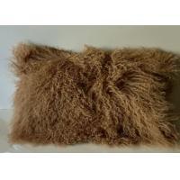 "Real Sheepskin Tibetan Mongolian Wool Lamb Fur Coffee Pillow 12""*20""  Rectangular NEW"