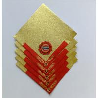 Buy cheap Golden Aluminum Custom Foil Stickers Embossing Lacquer Coated Surface from wholesalers