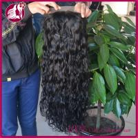 Buy cheap Long Side Full Lace Real Hair Wigs Natural Color Deep Wave , Virgin Indian Women from wholesalers