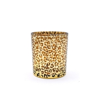 Buy cheap Gold Leopard Print Lead Free Glass Candle Cup 10cm Height from wholesalers