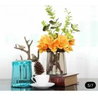 Buy cheap Blue Solid Standing Decorative Glass Vases Handmade For Flower House Hotel from wholesalers