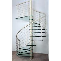 Buy cheap Interior spiral staircase with wooden steps glass railing design product