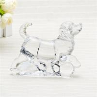 China Handpress clear glass home decor glass animal figurine cute galss dog for gift on sale