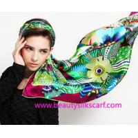 Buy cheap Women's Fashion Customized Digital Printed Silk Scarf, 100% silk satin scarf from wholesalers