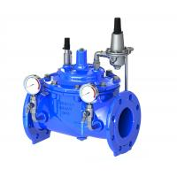 China Blue Diaphragm Water Pressure Reducing Valve With Stainless Steel 304 Pilot on sale