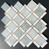 Buy cheap Shiny Ming Green Marble Stone Mosaic Tile With Thassos Polished Onyx Dot from wholesalers
