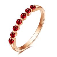 Buy cheap Round Rose Gold Ruby And Diamond Anniversary / Engagement Ring from wholesalers