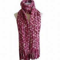 Buy cheap Crochet flower pattern scarf, made of acrylic from wholesalers
