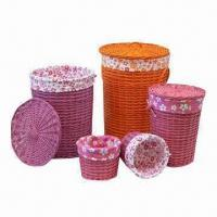 Buy cheap Toy Storage Baskets, Various Color/Styles, Natural Willow with Lining, Environment-friendly from wholesalers