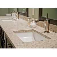 Beige Bathroom Vanity Tops With Sink Natural Quartz Stone Double Sink Vanity Top