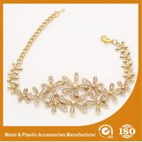 Buy cheap Gold Custom Metal Bracelets With White Zircon Charm Bracelets For Girls from wholesalers