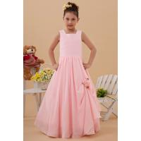 Buy cheap Chic Square Satin Chiffon Pink Unique Flower Girl Dresses Wedding Gown from wholesalers
